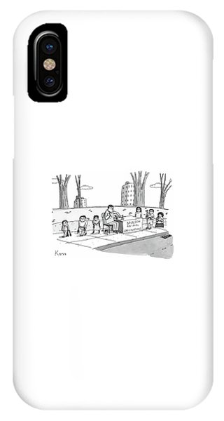 A Man Holding A Syringe Sits At A Stand IPhone Case
