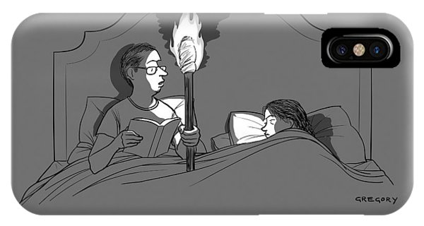 A Man Holds A Torch In Bed As His Reading Light IPhone Case
