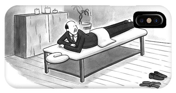 A Man In A Suit Lays On A Massage Table IPhone Case