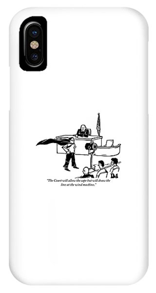 Hero iPhone Case - A Man Is Seen Wearing A Cape Next To A Wind by Drew Dernavich