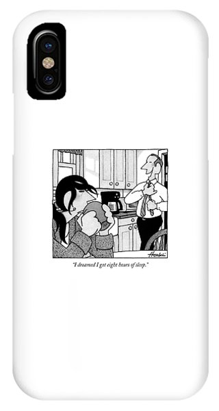 A Man Is Standing In The Kitchen IPhone Case