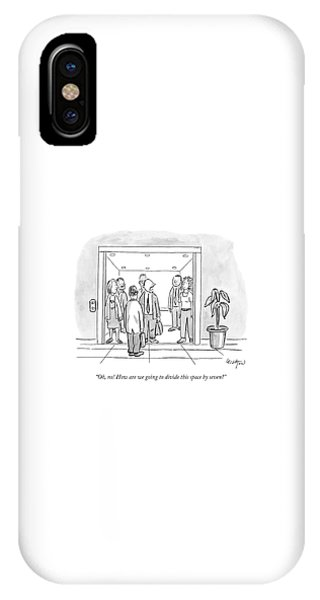 Fairness iPhone Case - A Man Is Trying To Get In An Elevator With Six by Robert Leighton