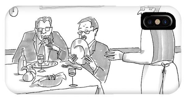 A Man Licks His Plate Clean At A Restaurant IPhone Case