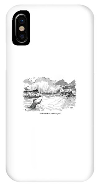 A Man Marooned In A Marsh Shouts IPhone Case