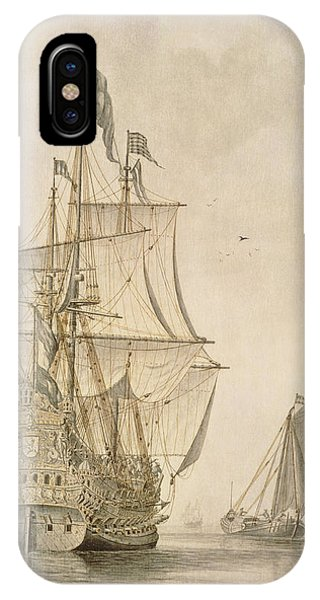 A Man-o-war Under Sail Seen From The Stern With A Boeiler Nearby IPhone Case