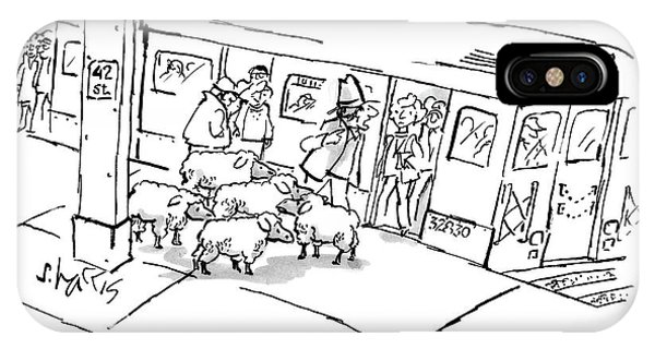Commute iPhone Case - A Man On The Subway Platform With Five Sheep by Sidney Harris