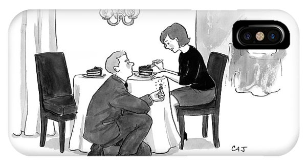 A Man Proposes To A Woman In A Restaurant IPhone Case