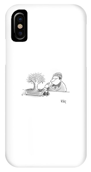 A Man Rakes Leaves In A Tiny Bonsai Tree IPhone Case