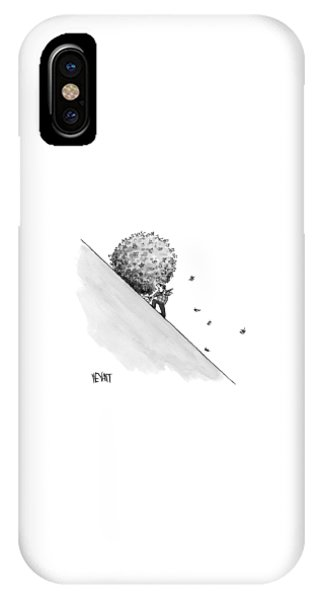 A Man Rakes Leaves Uphill IPhone Case