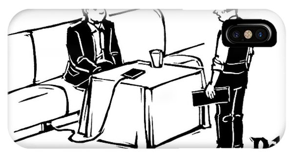 A Man Sits At A Restaurant Table IPhone Case