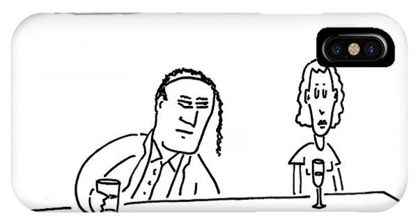 A Man Sits Near A Woman At A Bar. He Is Balding IPhone Case