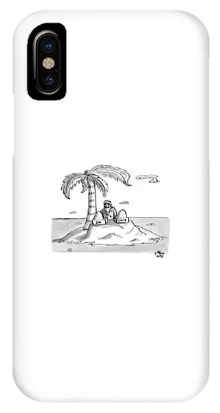 Shipwreck iPhone Case - A Man Sits On A Deserted Island With Two Boxes: by Farley Katz