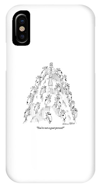 Goat iPhone Case - A Man Sits On Top Of A Mountain With Goats by Victoria Roberts