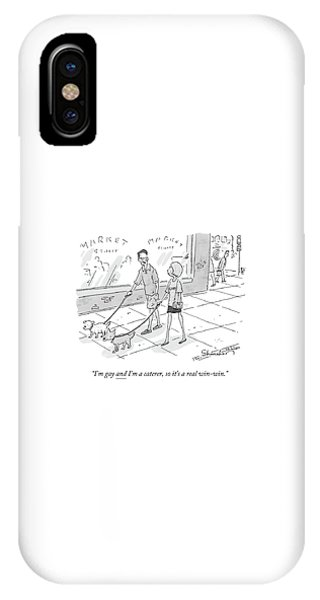 A Man Speaks To A Woman As They Walk Their Dogs IPhone Case