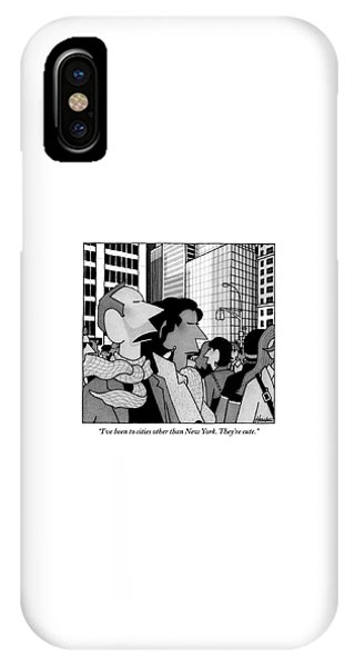 Cities iPhone Case - A Man Speaks To His Wife In The Midst Of New York by William Haefeli