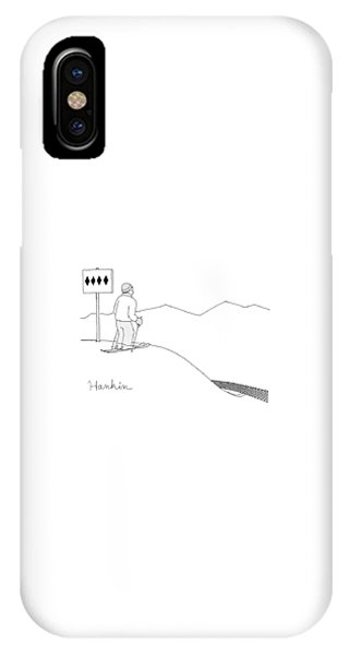 A Man Stands At The Top Of A Ski Slope IPhone Case