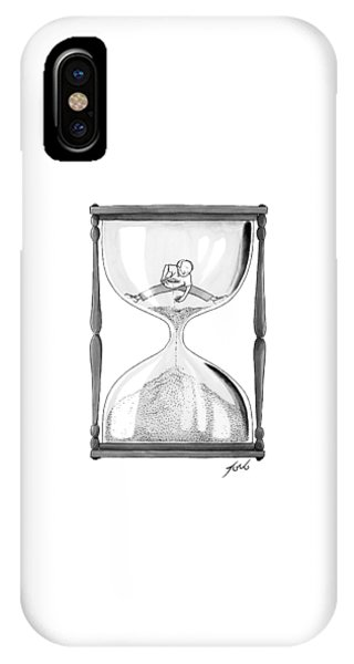 A Man Stands In The Top Half Of An Hourglass IPhone Case