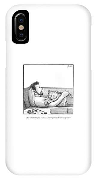A Man Talking To The Cat Lying On His Stomach IPhone Case