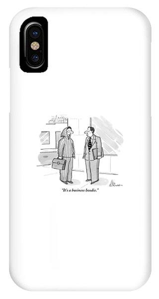 A Man Wearing A Hoodie Is Seen Speaking IPhone Case