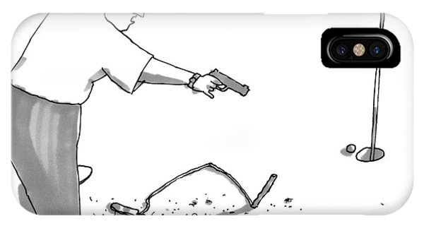 A Man With A Handgun Is Talking And Aiming IPhone Case