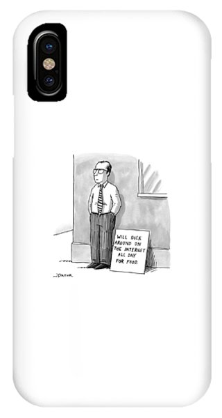 Sign iPhone Case - A Man With Glasses And A Tie Is Standing by Joe Dator