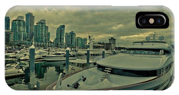 Vancouver City iPhone Case - A Million Dollar Ride Yacht  by Eti Reid