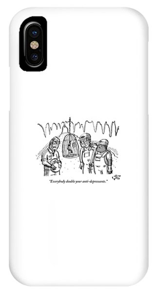 Canary iPhone Case - A Miner Says To Two Other Miners As They Look by Farley Katz
