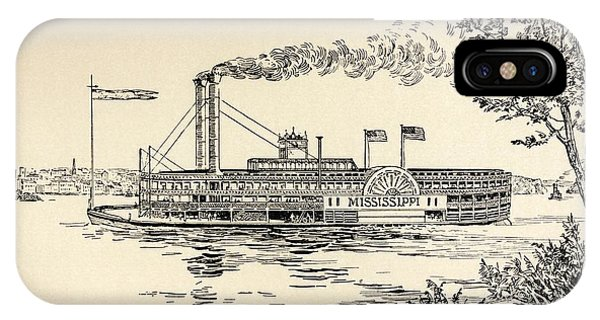 A Mississippi Steamer Off St Louis From American Notes By Charles Dickens  IPhone Case