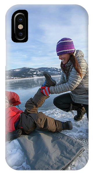 Knit Hat iPhone Case - A Mom Helping A Little Boy Get Ready by Woods Wheatcroft
