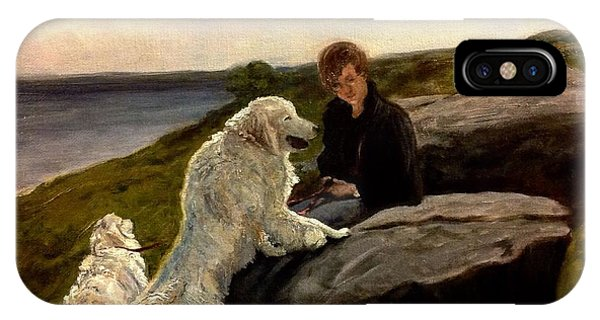 IPhone Case featuring the painting A Moment Of Repose With The Magnificent Dogs by J Reynolds Dail