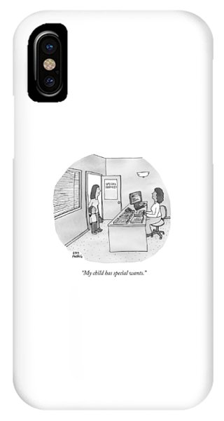 A Mother Brings Her Son Into A Room Labeled IPhone Case
