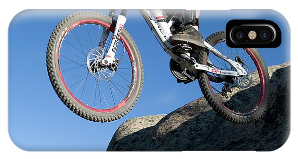 Slickrock iPhone Case - A Mountain Biker Gets Big Air by J.C. Leacock