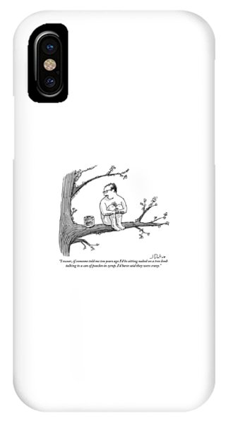 A Naked Man Sitting On A Tree Branch Is Talking IPhone Case