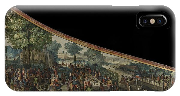 Lid iPhone Case - A Painting On A Harpsichord Lid With A Party By A River by Litz Collection