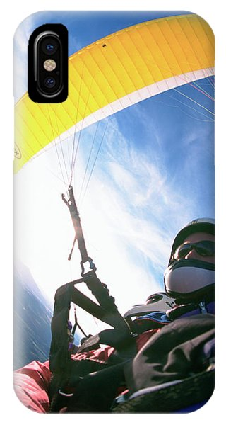 Bravery iPhone Case - A Paraglider Flight Over The San Juan by Randy Barnes