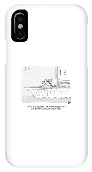 Pirate Ships iPhone Case - A Pirate In A Ship Holds A Ship In A Bottle by Farley Katz