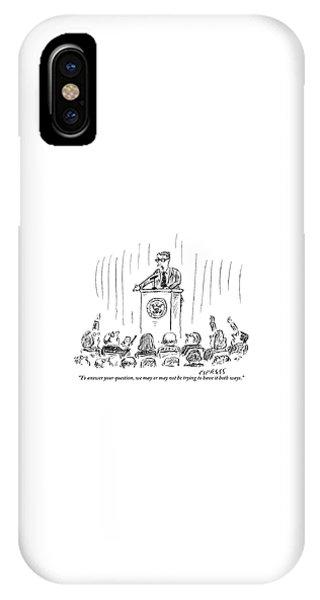 A Politician Gives An Elusive Speech On Having IPhone Case