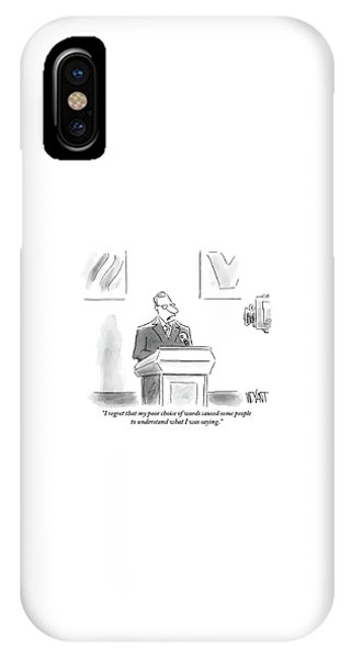 A Politician Speaks At A Podium IPhone Case