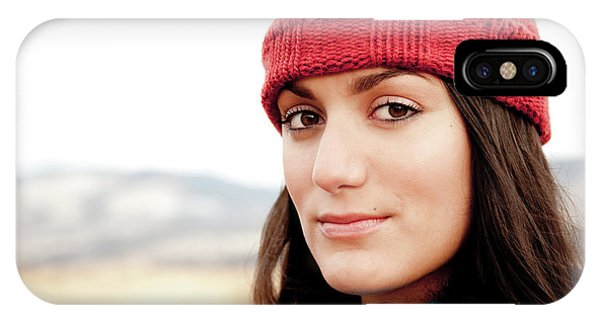 Knit Hat iPhone Case - A Portrait Of A Young Woman While by Jordan Siemens