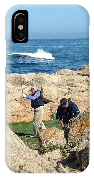 a practice swing at PEBBLE BEACH IPhone Case