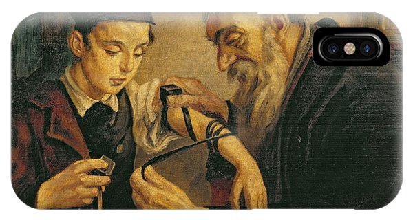 Bar Mitzvah iPhone Case - A Rabbi Tying The Phylacteries by Jewish School
