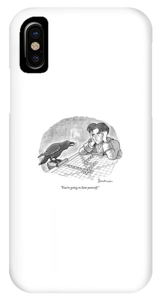 Poetry iPhone Case - A Raven Is About To Add An N To The Word Evermore by David Borchart