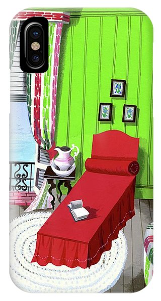A Red Bed In A Bedroom IPhone Case
