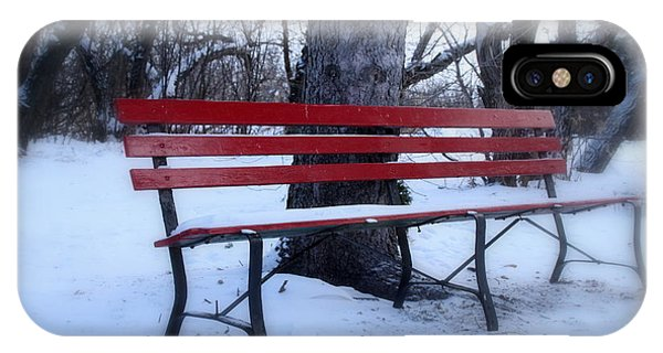 A Red Bench Waiting For Spring IPhone Case