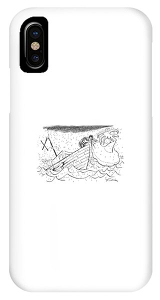 Shipwreck iPhone Case - A Sailor Blows Up An Inflatable Island by Mike Twohy