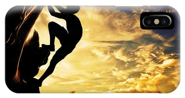 A Silhouette Of Man Free Climbing On Rock Mountain At Sunset IPhone Case