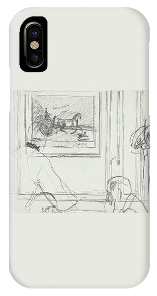 A Sketch Of A Horse Painting At A Bar IPhone Case