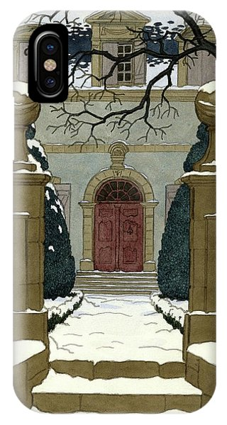 Shrub iPhone Case - A Snow Covered Pathway Leading To A Mansion by Pierre Brissaud