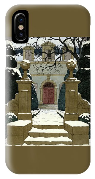 A Snow Covered Pathway Leading To A Mansion IPhone Case