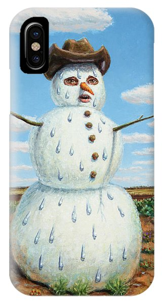 Cold iPhone Case - A Snowman In Texas by James W Johnson